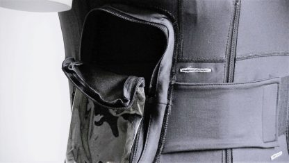 The Dutch Design Duodopa Vest pump pocket with open top to insert the infusion pump